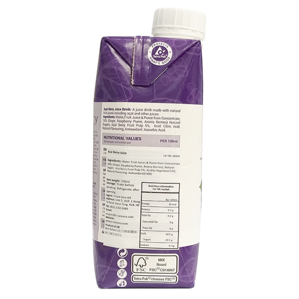 Acai Berry 330ml 3left 600x600 - The Berry Company – 巴西莓汁 4x330mL