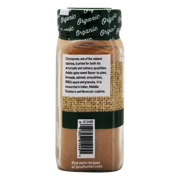 Cinnamon 有機肉桂粉 2back 600x600 - The Spice Hunter – Organic Ground Cinnamon 6x1.7oz (Full Carton)