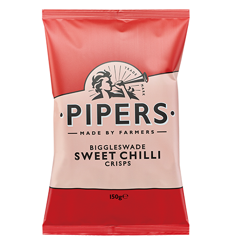 PIPERS BIGGLESWADE SWEET CHILLI 150g red 500x500 - Pipers Crisps - 甜紅椒味薯片 2x150g