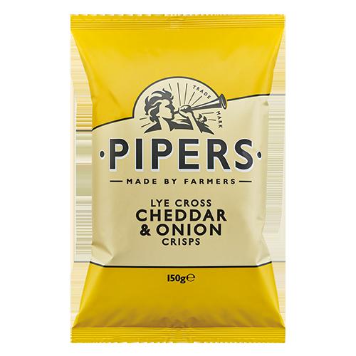 PIPERS Cheddar Onion 150g yellow 500x500 - Pipers Crisps - 車打芝士洋蔥味薯片 8x150g (原箱)