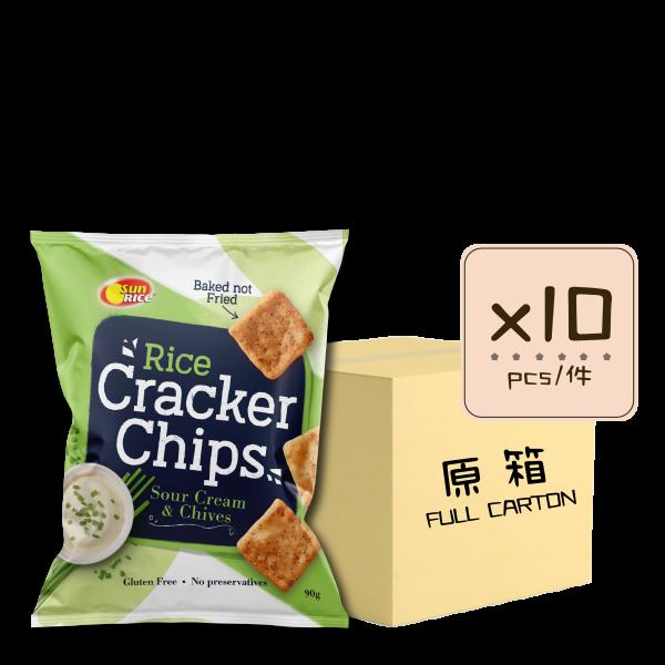 Online Shop Rice Cracker Chips Sour Cream x10 600x600 - 香蔥酸忌廉薄脆米餅 10x90g (原箱)