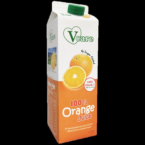 Orange 1front 600x600 - V-Care – 100% Orange Juice 2x1L