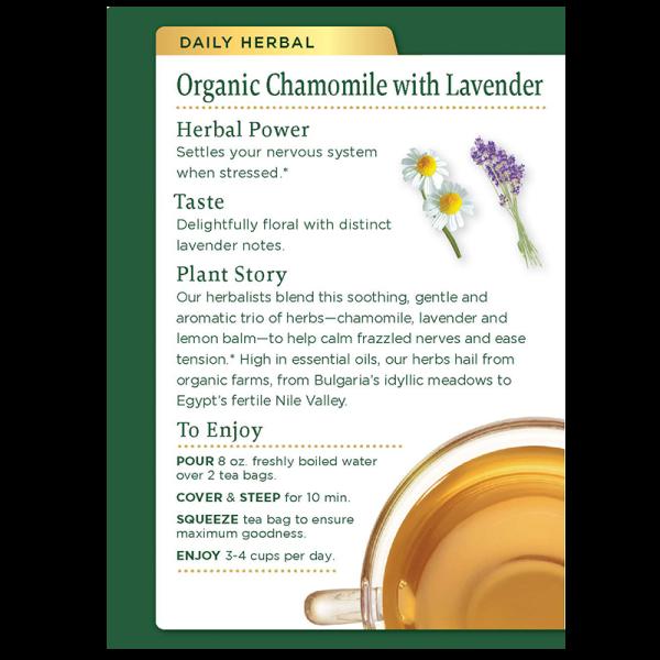 Chamomile lavender back 600x600 - 有機洋甘菊薰衣草茶 6x16's (原箱)