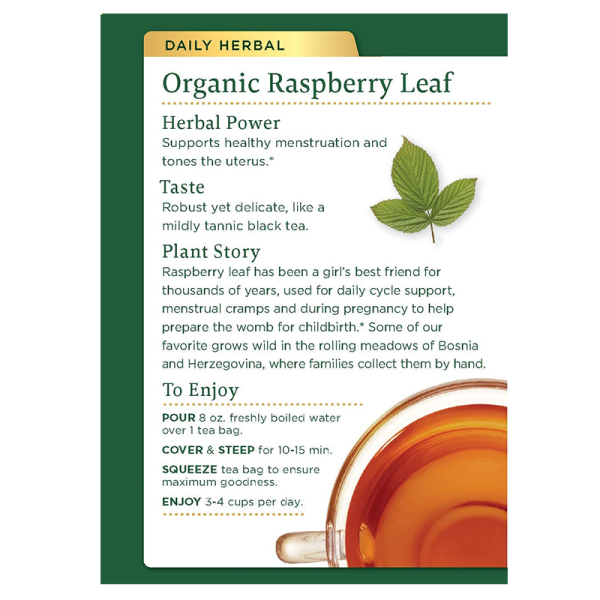 Raspberry leaf back 600x600 - Organic Raspberry Leaf 6x16's (Full Carton)